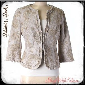Coldwater Creek Taupe Paisley Print Lined Jacket